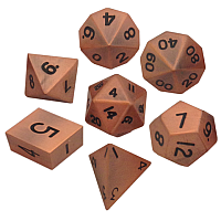 Antique Copper Metal Dice 16mm Polyhedral Set