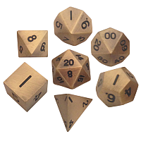 Antique Gold Metal Dice 16mm Polyhedral Set
