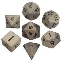Antique Silver Metal Dice 16mm Polyhedral Set