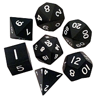Black Metal Dice 16mm Polyhedral Set