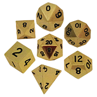 Gold Metal Dice 16mm Polyhedral Set
