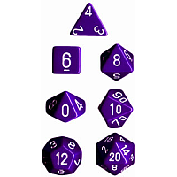 Purple w/White Opaque - 7 die set (Chessex)