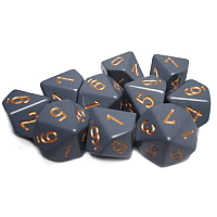 Dark Grey w/copper Opaque - 7 die set (Chessex)