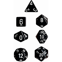 Black/White Opaque - 7 die set (Chessex)