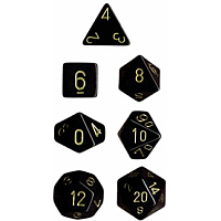 Black w/Gold Opaque - 7 die set (Chessex)