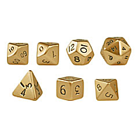Mini Polydice - Metal - Set of 7 Gold Finish
