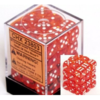 36 x D6 12mm Orange with white Translucent