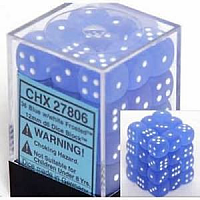 36 x D6 12mm Blue w/white Frosted