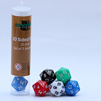 Blackfire Dice - 20mm Assorted Countdown D20 Dice (5 Dice)