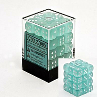 36 x D6 12mm Teal w/white Frosted