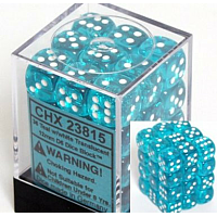 36 x D6 12mm Teal with white Translucent