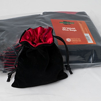 Velvet Dice Bag with Red Satin Lining