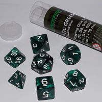 Blackfire Dice - 16mm Role Playing Dice Set - Mystic Green (7 Dice)