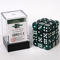 Blackfire Dice Cube – 12mm D6 36 Dice Set – Marbled Dark Green