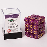 Blackfire Dice Cube – 12mm D6 36 Dice Set – Marbled Purple/Gold