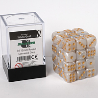 Blackfire Dice Cube – 12mm D6 36 Dice Set – Marbled White Gold