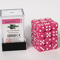 Blackfire Dice Cube – 12mm D6 36 Dice Set – Opaque Pink