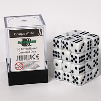 Blackfire Dice Cube – 12mm D6 36 Dice Set – Opaque White