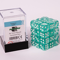 Blackfire Dice Cube – 12mm D6 36 Dice Set – Transparent Cyan