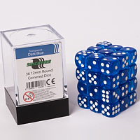 Blackfire Dice Cube – 12mm D6 36 Dice Set – Transparent Dark Blue