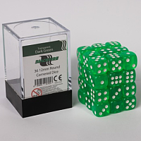 Blackfire Dice Cube – 12mm D6 36 Dice Set – Transparent Dark Green