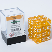 Blackfire Dice Cube – 12mm D6 36 Dice Set – Transparent Gold