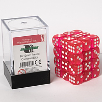Blackfire Dice Cube – 12mm D6 36 Dice Set – Transparent Watermelon Red