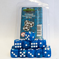 Blackfire Dice - 16mm D6 Dice Set - Marbled Light Blue (15 Dice)