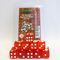 Blackfire Dice - 16mm D6 Dice Set - Transparent Red (15 Dice)
