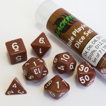 Blackfire Dice - 16mm Role Playing Dice Set - Brown (7 Dice)_boxshot