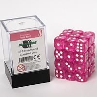 Blackfire Dice Cube - 12mm D6 36 Dice Set - Transparent Rose Red