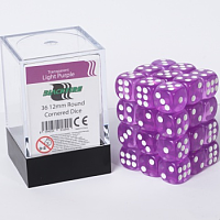 Blackfire Dice Cube - 12mm D6 36 Dice Set - Transparent Light Purple