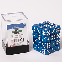 Blackfire Dice Cube – 12mm D6 36 Dice Set – Marbled Light Blue