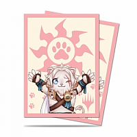 Standard Deck Protector - Chibi Collection Ajani - Lion Hug for Magic (100 Sleeves)