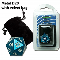 Blackfire Dice - D20 Metal with Velvet bag - Blue