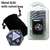 Blackfire Dice - D20 Metal with Velvet bag - Purple