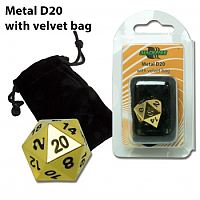 Blackfire Dice - D20 Metal with Velvet bag - Gold