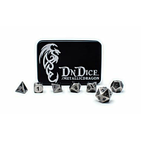 DnDice Solid Zink: Silver Metallic Dragon