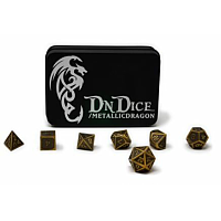 DnDice Gold Metallic Bone Dragon