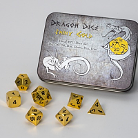 Blackfire Dice - Metal Dice Set - Shiny Gold (7 Dice)