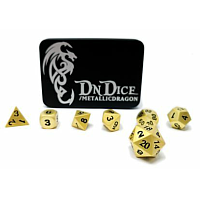 DnDice Solid Zink: Brilliant Gold Metallic Dragon