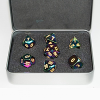 Blackfire Dice - Metal Dice Set - Scorched Rainbow (7 Dice)