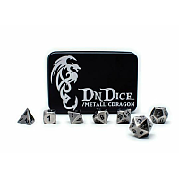 DnDice Solid Zink: Brushed Silver Metallic Dragon