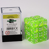 Blackfire Dice Cube – 12mm D6 36 Dice Set – Transparent Light Green