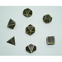 A Role Playing Dice Set: Metallic - Matt Black with Gold Borders