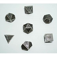 A Role Playing Dice Set: Metallic - Matt Silver with Silver Borders