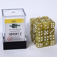 Blackfire Dice Cube - 12mm D6 36 Dice Set - Marbled Yellow